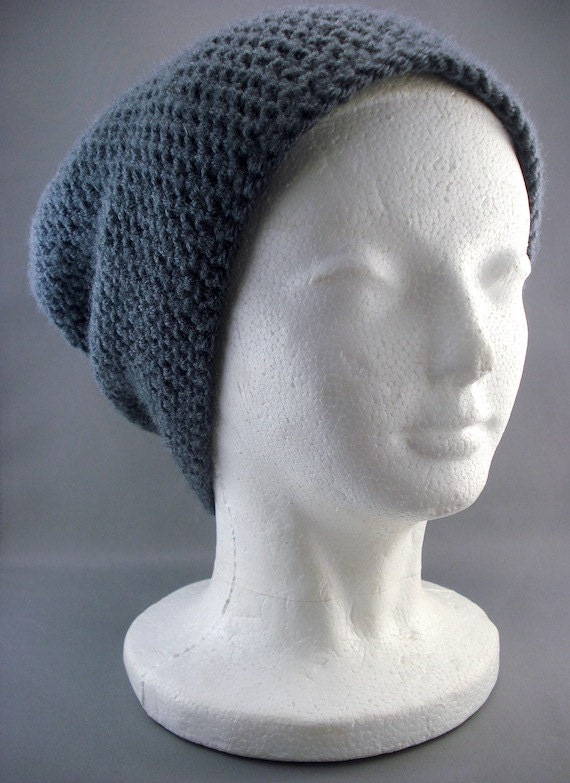 Mens Womens Super Slouchy Beanie Hat in Dark Grey