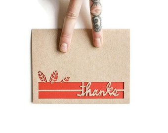 LEAVES Thank You Card; Laser cut card