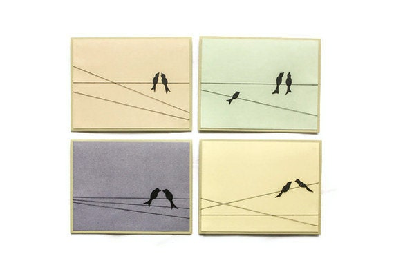 BIRDS ON a WIRE Card Set (Set of 4)