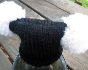 Newborn Hat - Jet Black Jester Hat With Large White Pom Pom Newborn Photo Prop - Newborn Knitted Baby Hat -