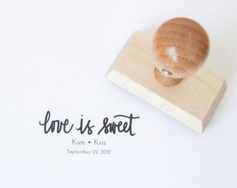 Personalized Wedding Calligraphy Stamp - Handwritten Calligraphy Love Is Sweet wedding rubber stamp personalized with names - H0007