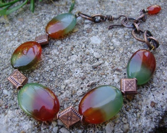 Warm tones Agate and Copper Bracelet 8-inch adjustable