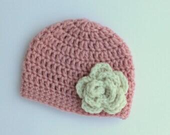 Crochet Baby Girl Hat Pink with Cream Flower