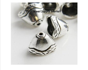 10pcs-12x8mm cones, silver tone, base metal, bead caps for flat beads, necklace, bracelet finish