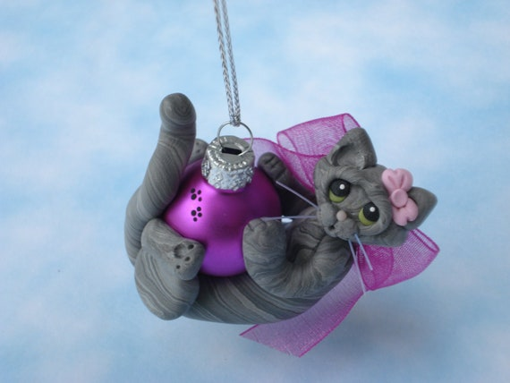 Polymer Clay Christmas Ornament Gray Silver Tabby Cat Personalized Figurine