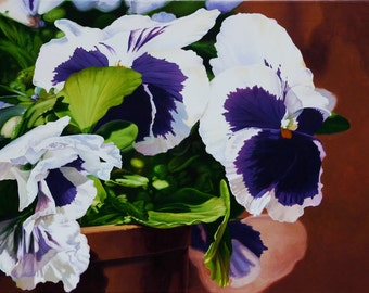 Potted Pansies, 36 x 24, Original Acrylic Painting on Canvas.