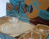 Christmas Dessert Plates, Mid Century Snowflake Serving Set