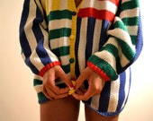 Multi Colorful Stripe box vertical and horizontal geometric pattern Cardigan sweater with buttons Large