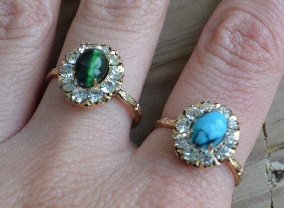 HOLD 20s art deco mint NOS 10k gold-filled rhinestone cocktail ring with your choice turquoise or emerald green mother of pearl