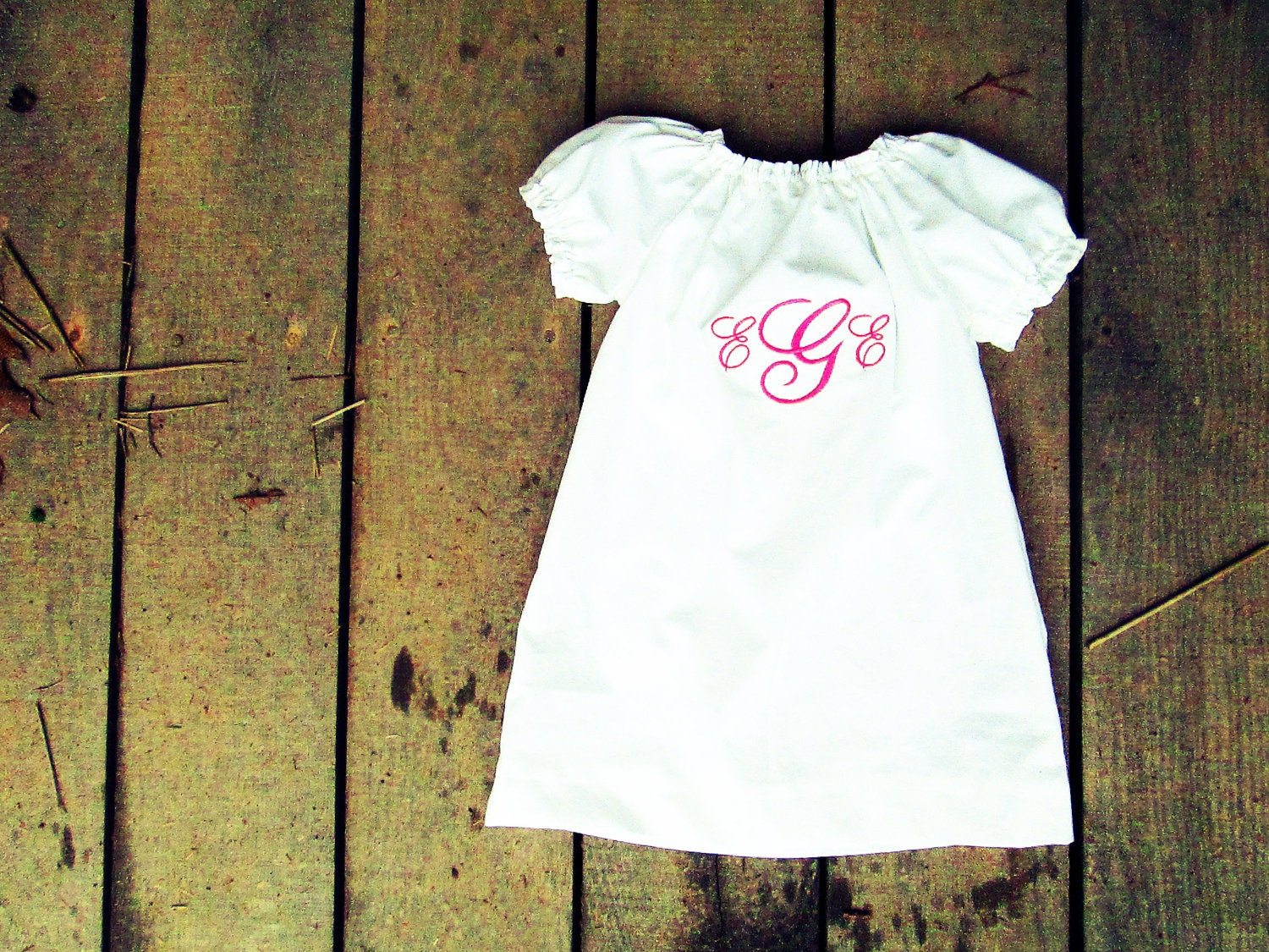 Monogrammed white peasant dress coming home outfit size