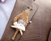 Set of 6: Rustic, Burlap Boutonnieres