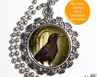 Vintage Raven Crow Digital Art Pendant, Black Bird Resin Art Pendant, Photo Pendant