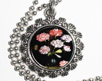 Floral Study: Carnations in a Vase Art Pendant, Vintage Baroque Resin Pendant, Balthasar van der Ast Art Photo Charm Necklace