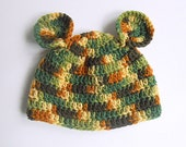 Camouflage Infant Boy Hat 6 Months Old  Camo Girl Cap With Ears Baby  3 To 9 Months Brown And Green Fall Hunting Beanie
