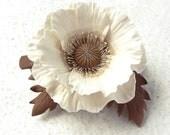 """Polymer clay barrette white brown  beige poppy """"White poppy"""". Clay flower jewelry"""