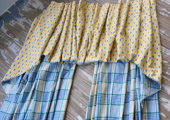 REDUCED - Provence style lined drapery set - excellent - yellow - blue - french country farmhouse - 92""