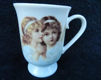 Pedestal Mug: Hand Decorated Porcelain