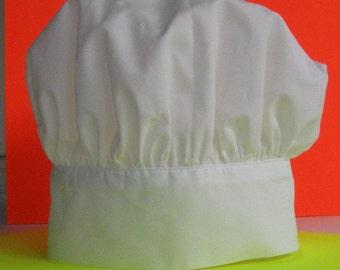 Baby chef hat, newborn chef hat, toddler chef hat, adjustable chef hat, pink blue or white, authentic style, sizes newborn to child.