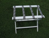 Order for Priscilla .Hand made (USA)  folding luggage stand/rack. Beautifully made with pine & sturdy webbing.