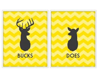 Does & Bucks Antler Prints - Deer Prints - Deer Art - Custom Color - 11x14