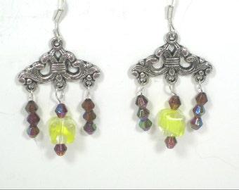 Yellow Amethyst Gemstone Chandelier Dangle Earrings / Gemstone Earrings