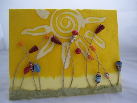 Hello Sunshine - Card crafted with handmade paper and paper beads