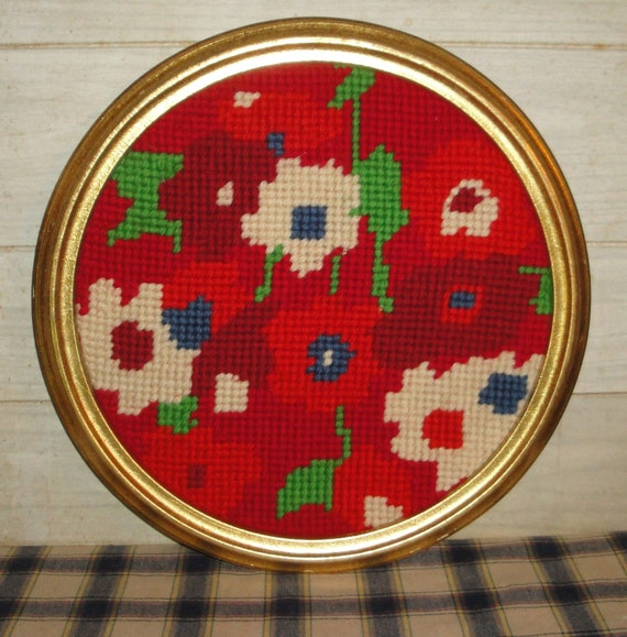 Vintage Framed Needlepoint  Art - Large Round - Red and White Flowers - Collectibles - Home Decor - Country