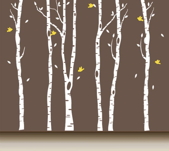 Tree decal birch wall mural t2r by arthomedecals on etsy for Birch trees wall mural