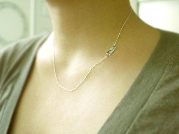 Initial tag necklace - thin dash on sterling silver - personalized custom delicate jewelry