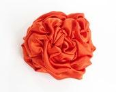 Fabric Flower Brooch Pin / Hair Clip. Flower Hair Accessories, Orange Rosette Satin, Autumn Fall Wedding, Bridal, Bridesmaids Flower Hair