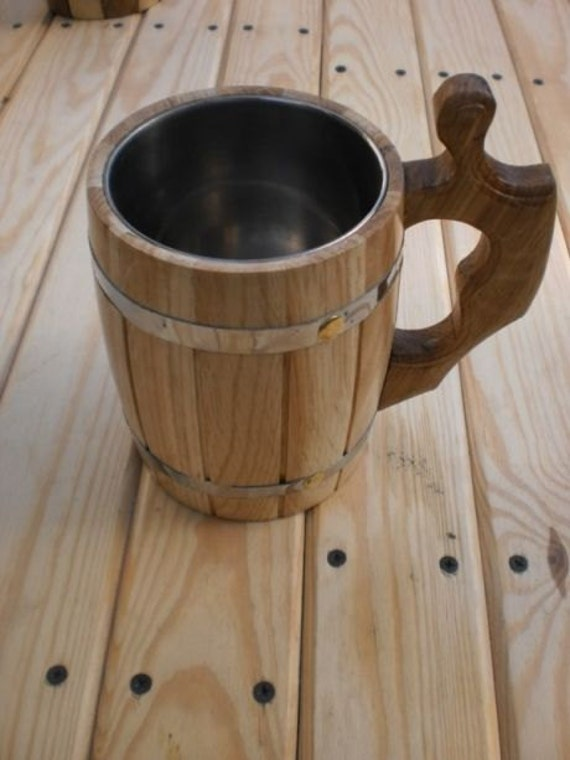 Wooden Beer mug 0,8 l (27oz) , natural wood, stainless steel inside,groomsmen gift