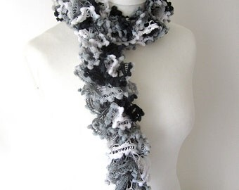 Black and white knitted scarf, ladies fashion, scarf for woman, autumn fashion, winter accessories, yarnawayknits
