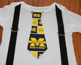 University of Michigan Wolverines boys Suspenders and Tie onesie or shirt - add sports leg warmers