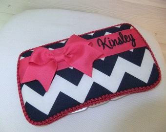 Custom Navy Chevron / Zig Zag Personalized Diaper Wipes Case (You Pick Accent Color)