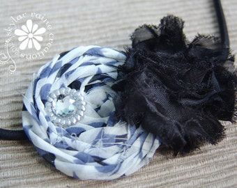 NAVY Headband - Boutique Style Elastic Headband -Shabby Chic Headband -Girls Headband- Black & White