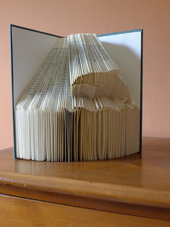 Altered Book Art - Dolphin Jumping - Folded  Book - Unique Handmade Gift - Book Sculpture