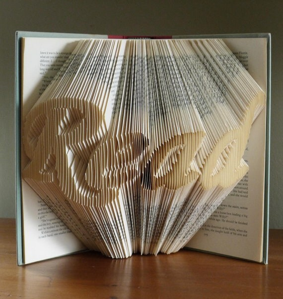 Folded Book Art - Gifts for Book Lovers -  READ - Altered Book - Origami - Unique Present - Teacher's Gift