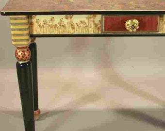 Hand Painted Sofa Table-Turned Legs: Copper-Red-Susan Goldstick Knob, Custom Made-To-Order