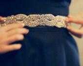 "Crystal Wedding Gown Sash Belt. Rhinestones, Beaded, Custom Satin Ribbon Colors. Bridal Bling. Blush, Mint, Black, Navy, more. Med. ""Kelsey"""
