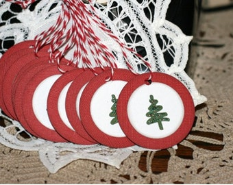 Christmas Gift Tags - Set of 12  Holiday gift tags with twine