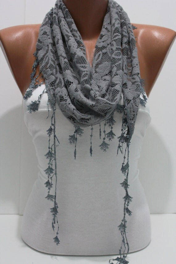 Dark Gray Cozy Shawl Scarf - Headband -with Lace Edge - Trending autumn winter