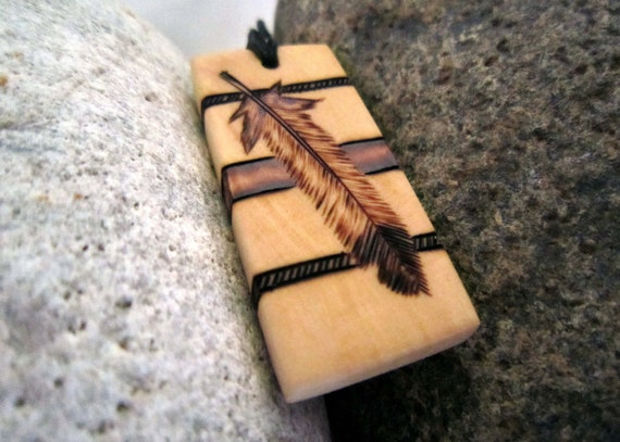 Wood pendant eagle feather pyrography - feather necklace