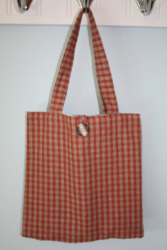 Small Rust And Beige Flannel Plaid Tote