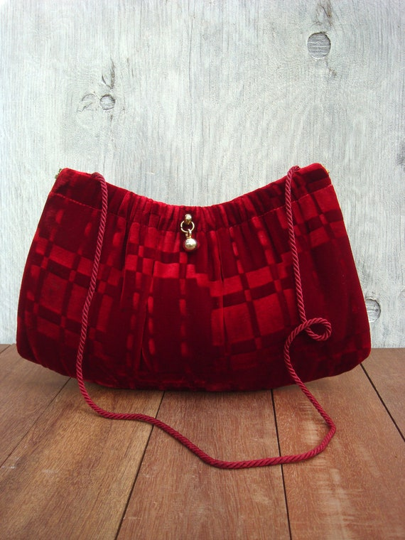 Velvet Clutch Purse 1960s rich Ruby Red color
