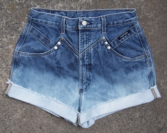 "Blue ombre denim high waisted shorts Rockies dip dye bleached high rise cut offs half bleached shorts 28"" WAIST"