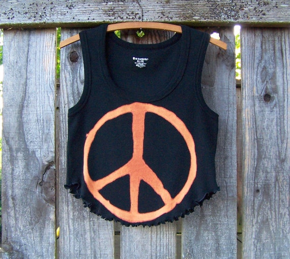 Crop top tank / peace sign / upcycled clothing / cut off shirt / eco fashion / cropped shirt / black tank top