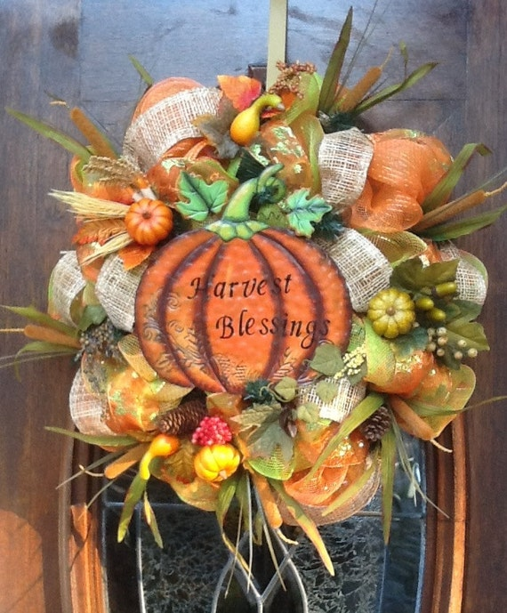 Harvest Blessings Fall and Thanksgiving Wreath