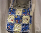 Large Baby/Toddler Rag Quilt Diaper Bag with Snoopy Embroidery Designs