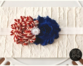 4th of July Baby Headband, Vintage Red Striped and Blue Headband, Baby Girl Headband, Newborn Headband, Toddler Headband, July 4th baby