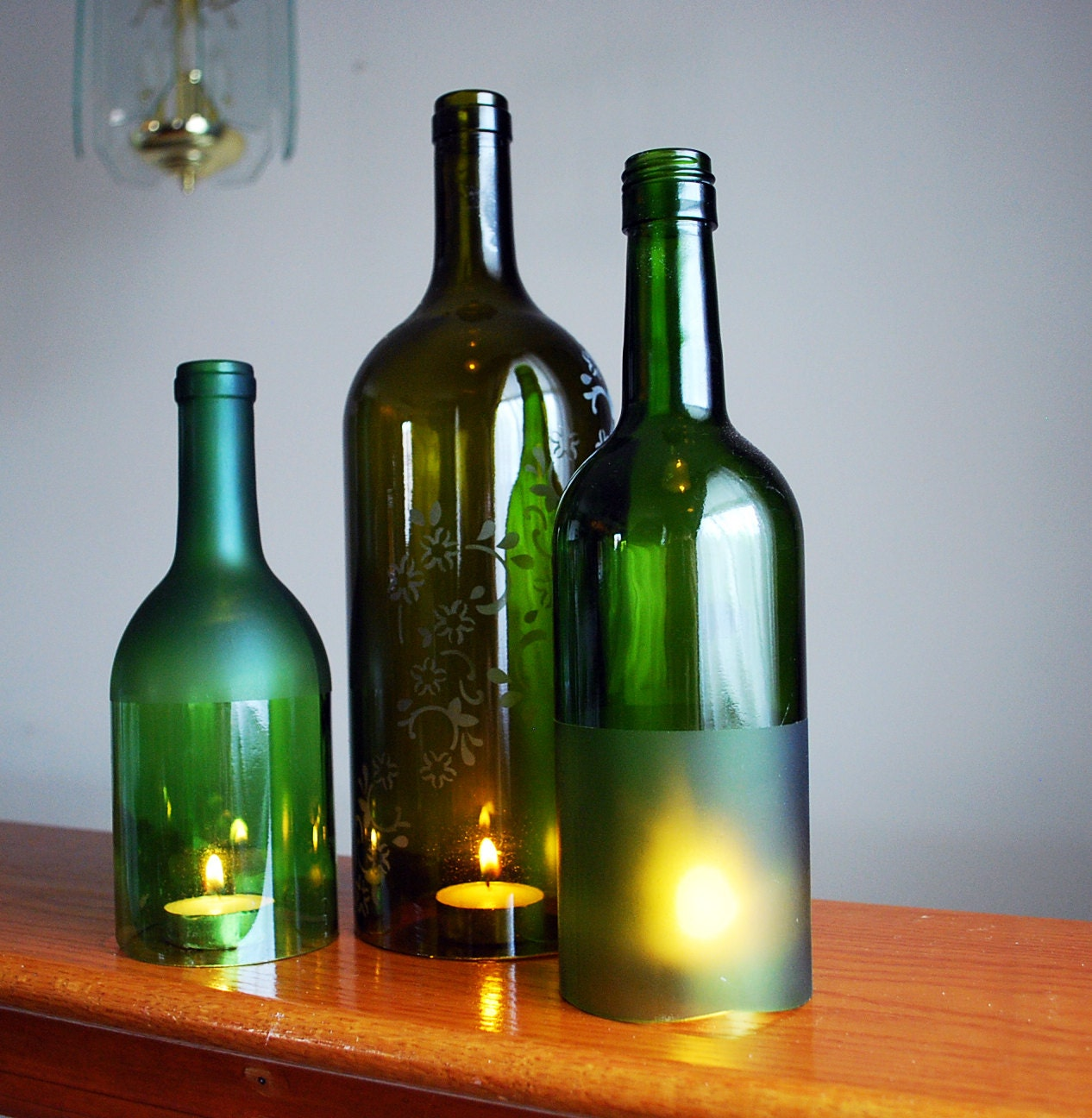 Etched wine bottle hurricane candle holder by magicowldesigns for Make candle holder wine bottle